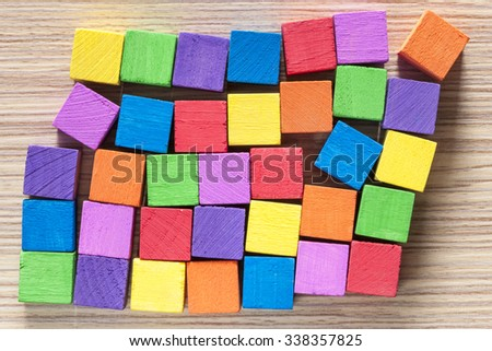Colorful wooden blocks background  - stock photo
