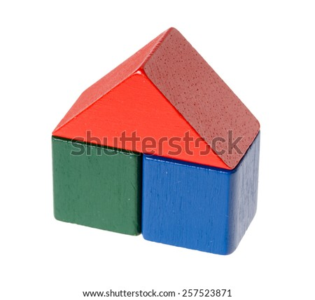 colorful wooden blocks isolated over a white background / wooden blocks - stock photo