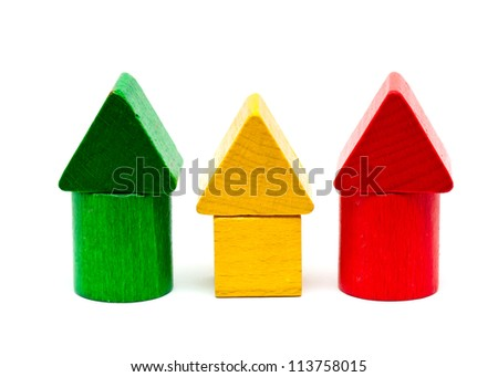 colorful wooden building blocks isolated on white background - stock photo