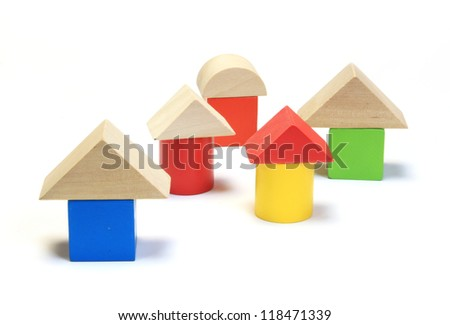 Colorful wooden building blocks isolated on white background