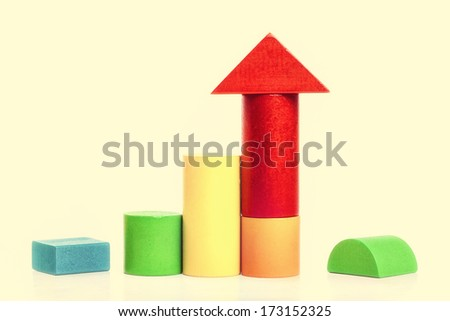 Colorful wooden building blocks isolated on white background  (clipped path)