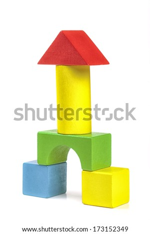Colorful wooden building blocks isolated on white background  (clipped path) - stock photo