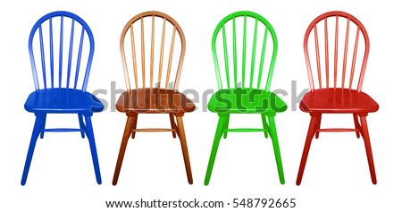 Colorful Wooden Chairs Isolated On The White Background