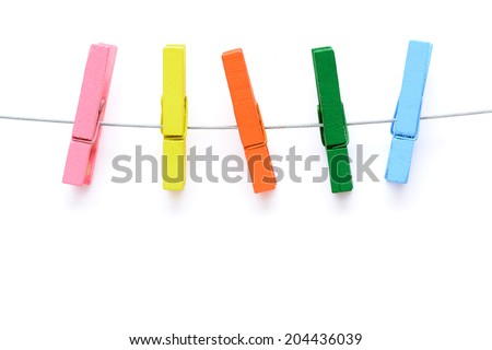 colorful wooden clothespin - stock photo