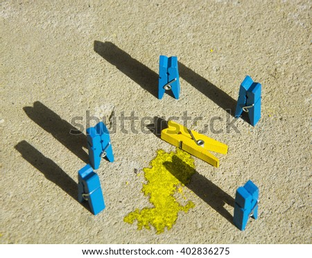 colorful wooden clothespin - Crime scene abstract. toned image - stock photo