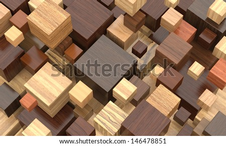 Colorful wooden cubes. - stock photo