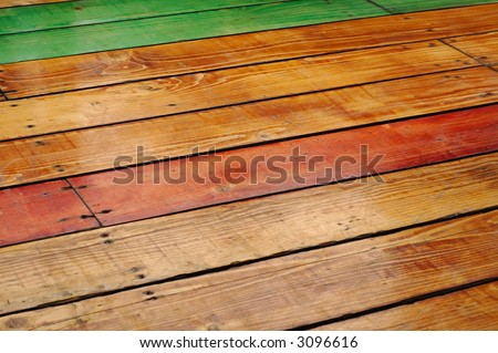 colorful wooden flooring made as a floor for a restaurant - stock photo