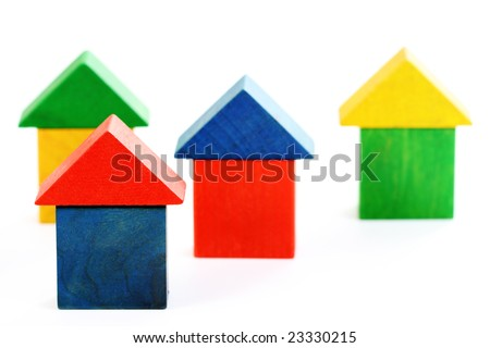 colorful wooden houses isolated on white