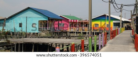 Colorful wooden houses on Pulau Ketam - Crab Island - in Malaysia
