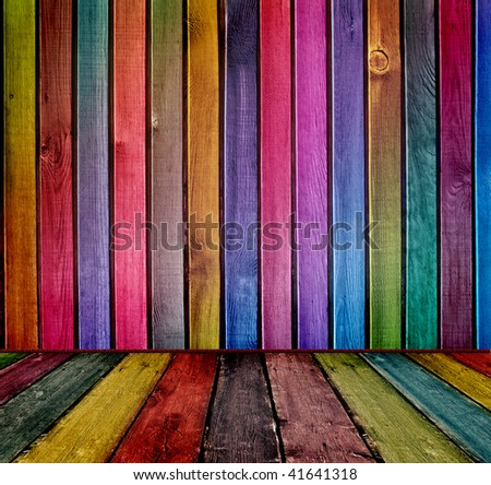colorful wooden interior - stock photo