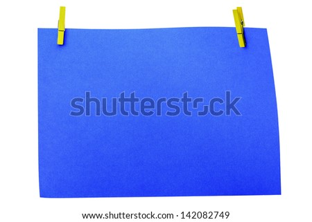 Colorful wooden pin with paper and copy space with clipping path - stock photo