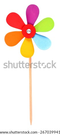 Colorful wooden pinwheel toy - stock photo
