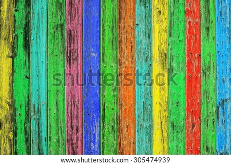 Colorful wooden tiles. Colored wood background. Blue green yellow red shabby chic wallpaper texture. Vibrant colors - stock photo