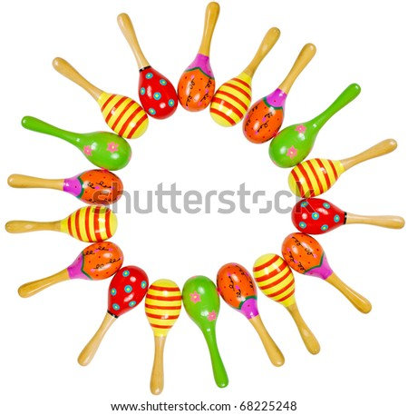 colorful wooden toy maracas frame music percussion instrument isolated on white background - stock photo