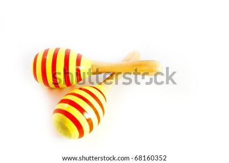 colorful wooden toy maracas music percussion instrument isolated on white background - stock photo