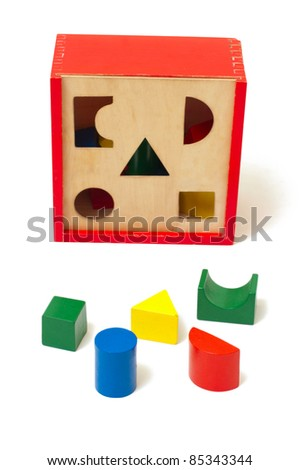 Colorful wooden toys for developing of baby logic - stock photo