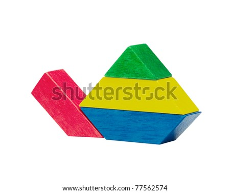 Colorful wooden turtle creates from toy blocks for kid an image isolated on white