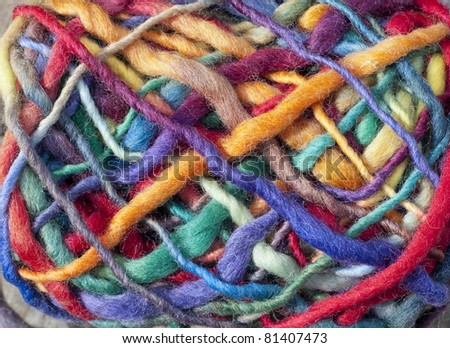 colorful wool to weave natural textures - stock photo