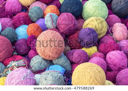 colorful wool yarn silk balls for weaving  knitting  fabrics in cusco, peru