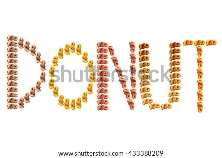 Colorful word donut isolated on white background