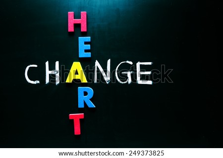 Colorful word heart and writing word change crossing on blackboard - stock photo