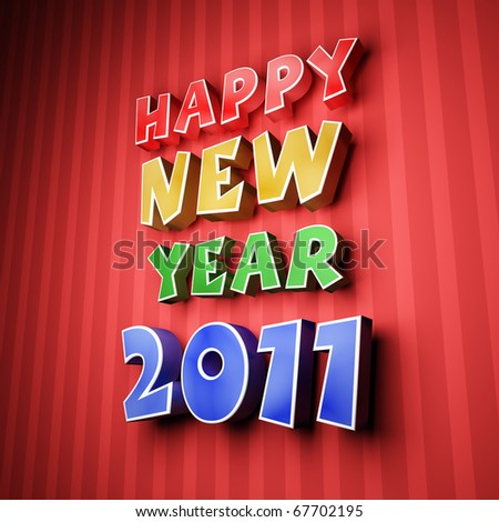Colorful words of happy new year 2011 on strip blue background - stock photo