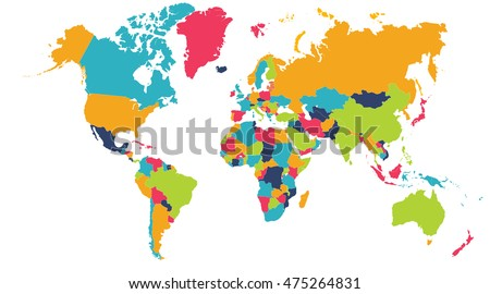 World map europe asia north america vectores en stock 514624165 colorful world map europe asia north america south america africa gumiabroncs Gallery