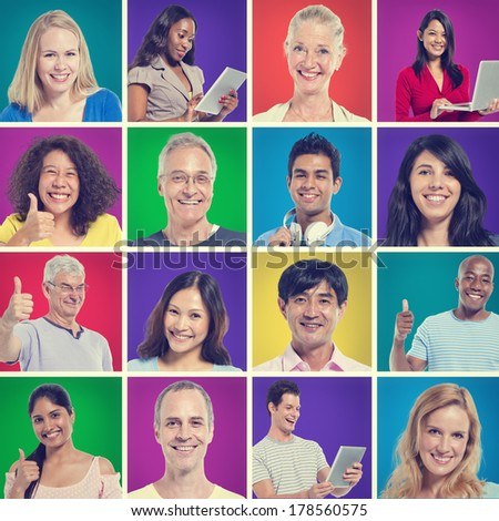 Colorful World People Portraits Giving Thumbs Up - stock photo