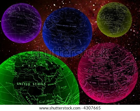 colorful worlds in space, usa - stock photo