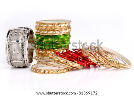 Colorful wrist bands on white background - stock photo