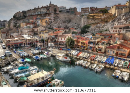 Colorful yacht harbour in old city of Marseilles, France - stock photo