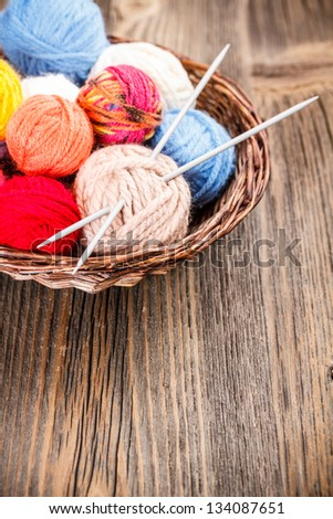 Colorful yarn for knitting in basket - stock photo