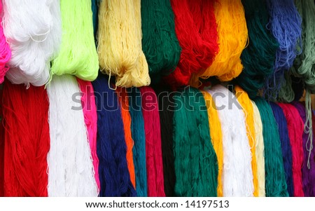 Colorful yarn for sale in the market