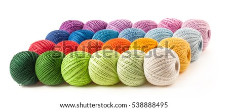 Colorful yarn isolated on white
