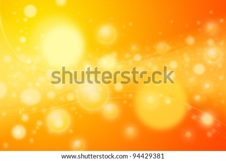 Colorful yellow circles or spheres representing concentration of energy bubbles. Artistic rendering of a concentrated star nursery or galaxy disk of stars with wavy lines of energy emissions. - stock photo