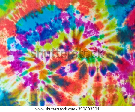 Colorful Yellow, Green, Orange, Blue, Red Tie Dye Swirl Pattern Design
