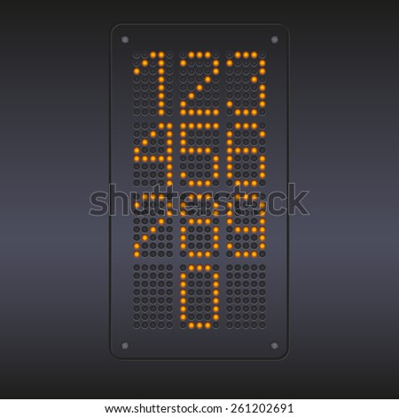 Colorful yellow LED panel against dark background with numbers.