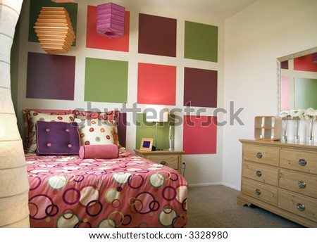 Colorful young bedroom - stock photo