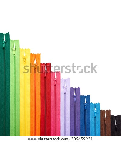 Colorful zipper collection in vertical arrangement isolated - stock photo