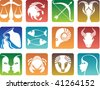 Colorful zodiac sign icons - stock vector