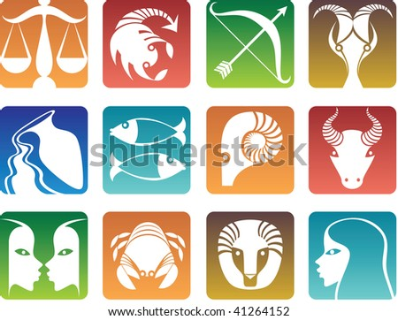 Colorful zodiac sign icons - stock photo