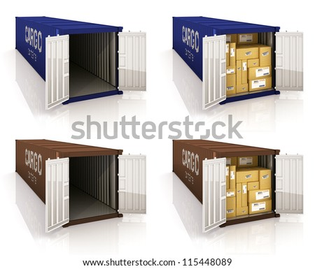 Colorfull cargo containers on the white background - stock photo