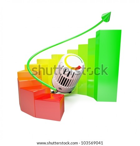 Colorfull diagram with heating system on white background