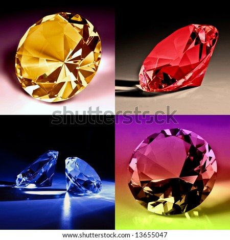 Colorfull diamonds collection - stock photo