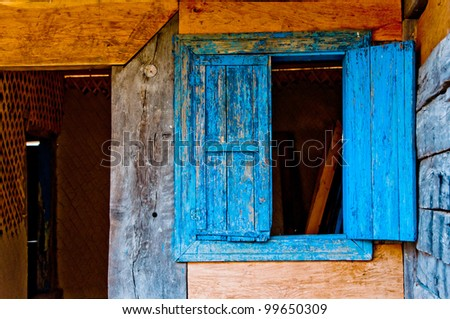 colorfull door and window, made by wood