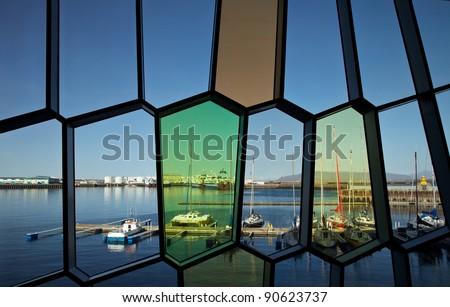 Colorfull glass window - stock photo