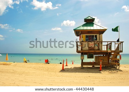 colorfull lifegard post in miami beach, florida - stock photo
