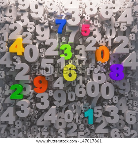 Colorfull numbers preschool background  - stock photo
