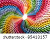 Colorfull origami 3d units like a rainbow circle  with shadow. From sheets of paper making modules, which joined. - stock photo