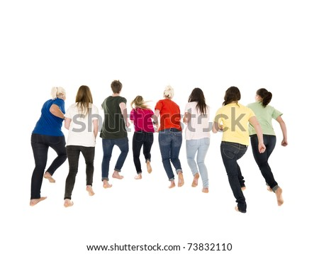 Colorfull people running on white background - stock photo